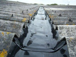 Lined gutter, minimal disruption and cost effective.